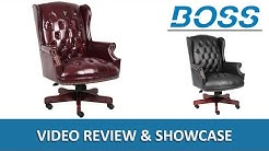 Antique Style Traditional Button-Tufted Classic Wingback Office Chair - Boss B800