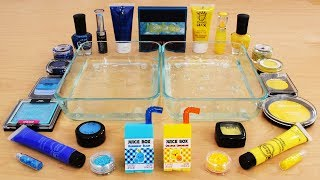 Mixing Makeup Eyeshadow Into Slime! Blue vs Yellow Special Series Part 53 Satisfying Slime Video