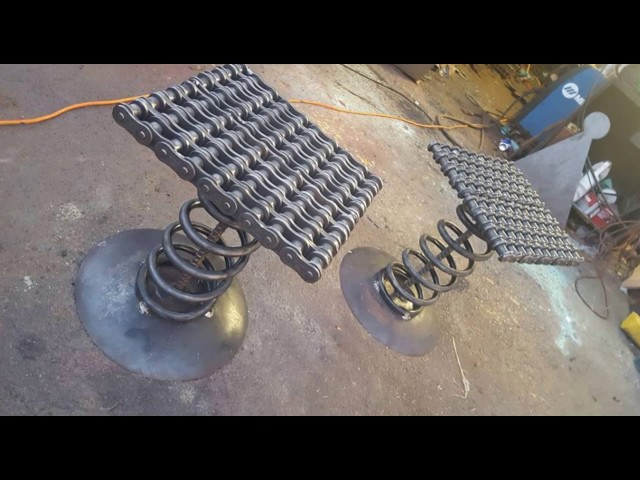 Welded Chain Furniture Stool by Raymond Guest