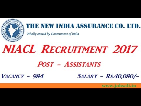 New India Assurance Company Limited NIACL Assistant 984 Posts 2017