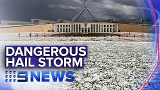 Powerful storm cells unleash barrage of hail | Nine News Australia