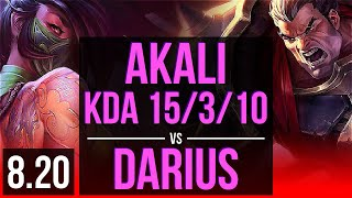 AKALI vs DARIUS (TOP) | KDA 15/3/10, Dominating | NA Master | v8.20