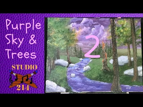 Cloudy Purple Sky & Tree Landscape PT 2 -FUN Acrylic Painting Demonstration &Tutorial for Beginners