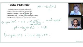 HOW TO FIND the pH of a DILUTED STRONG ACID