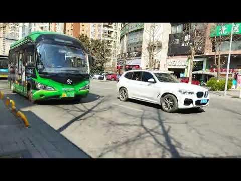 Ride Bus Morning in Chengdu, Sichuan Province, China, + walking around