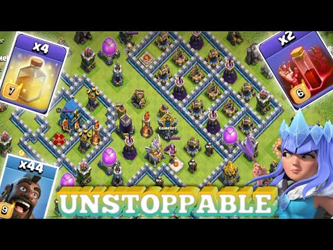 UNSTOPPABLE 44 HOG + 2 SKELETON SPELL + 4 HEAL!! TH12 3 STAR PUSHING REPLAYS!! COC