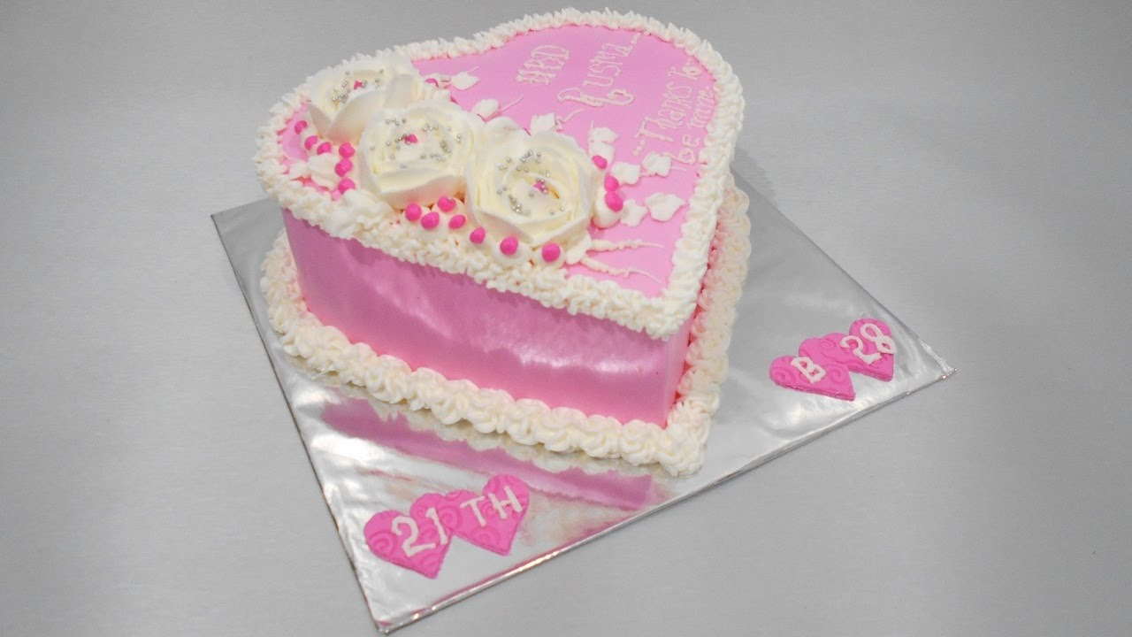 Love Cake Design Pink Youtube