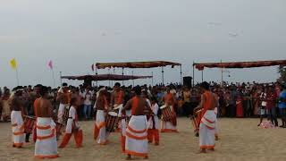 Ullal beach festival. Band performing traditional drumming