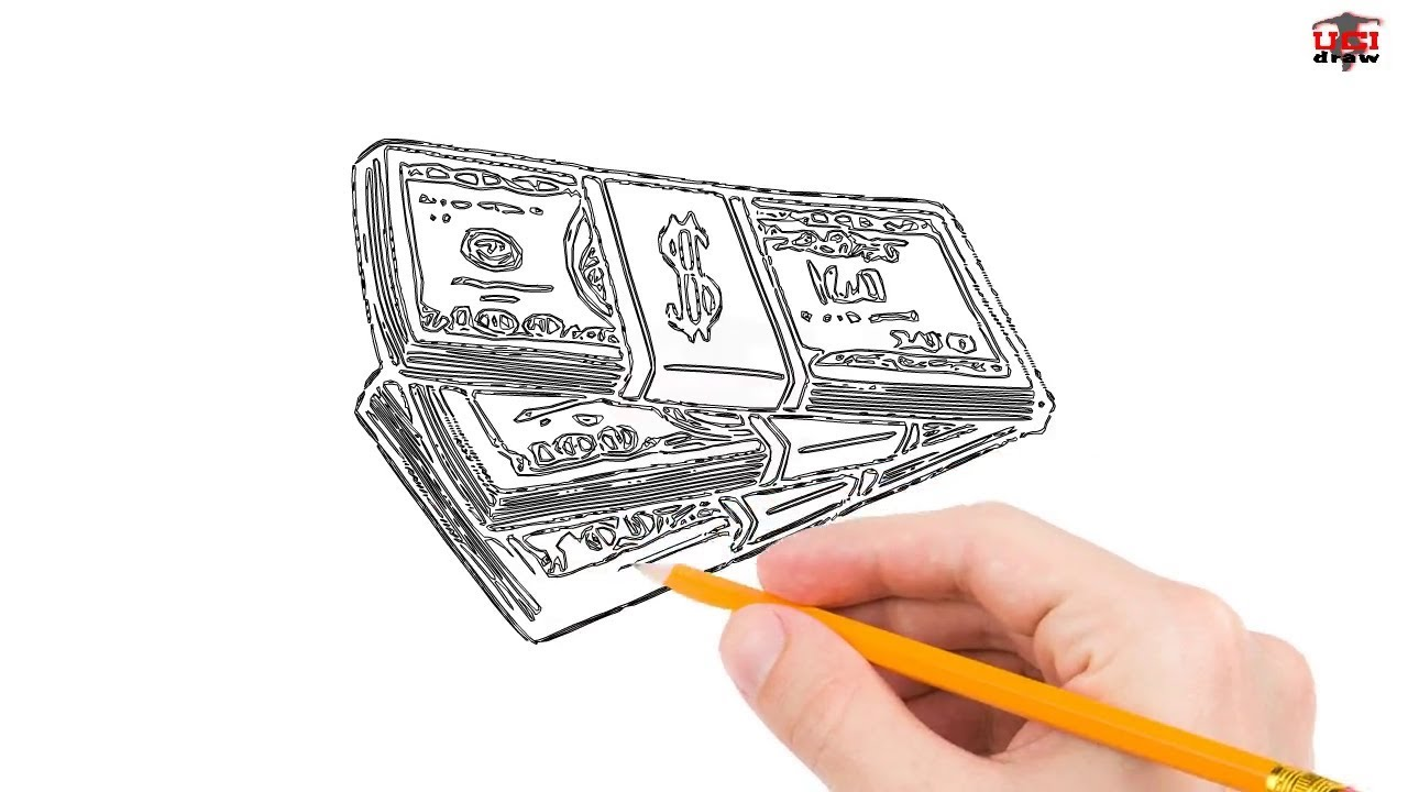 How To Draw Money Step By Step Easy For Beginners Simple Money Drawing Tutorial Youtube