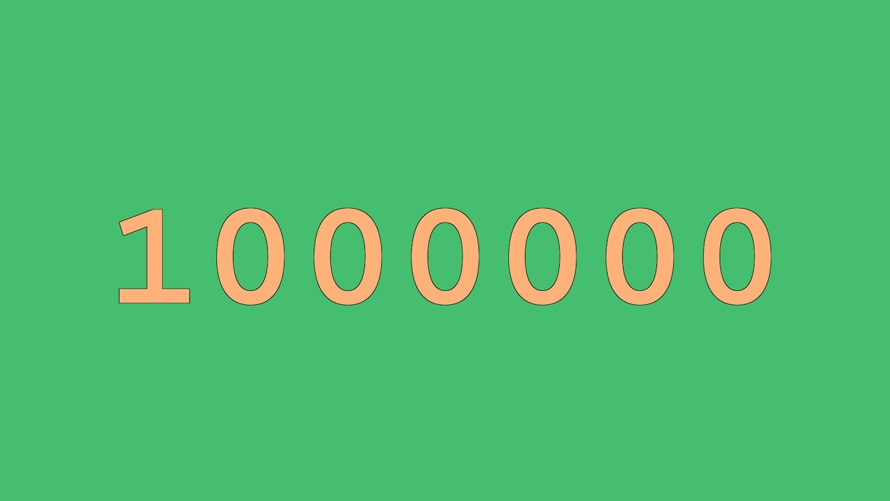 Colored Numbers from 0 to 1,000,000 - YouTube