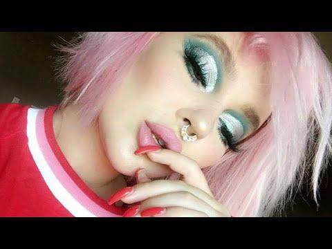 full face makeup tutorial / milk makeup review / blue glitter cut crease / life update