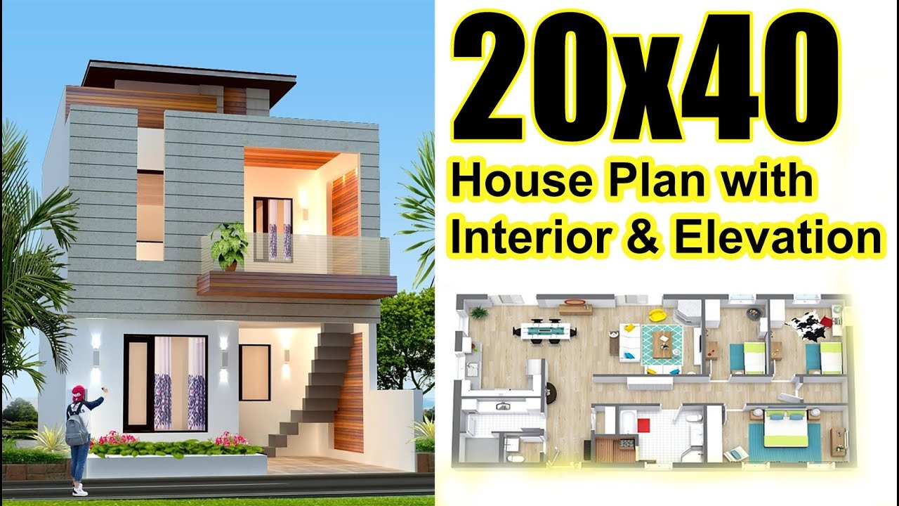 20x40 House plan with Interior & Elevation 2019 - Free video search