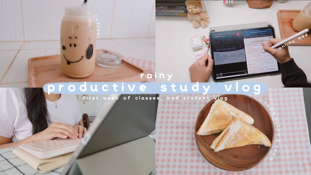 rainy study vlog ☔️ first week of online classes, back to my dorm, what I eat in a day