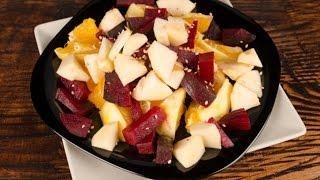 Постный салат из свеклы, яблок и апельсинов