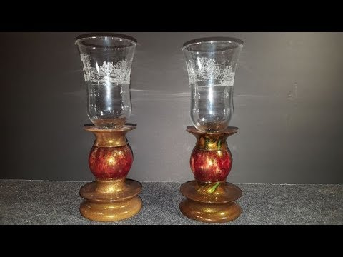 Resin and Walnut Candle Stands with Globes