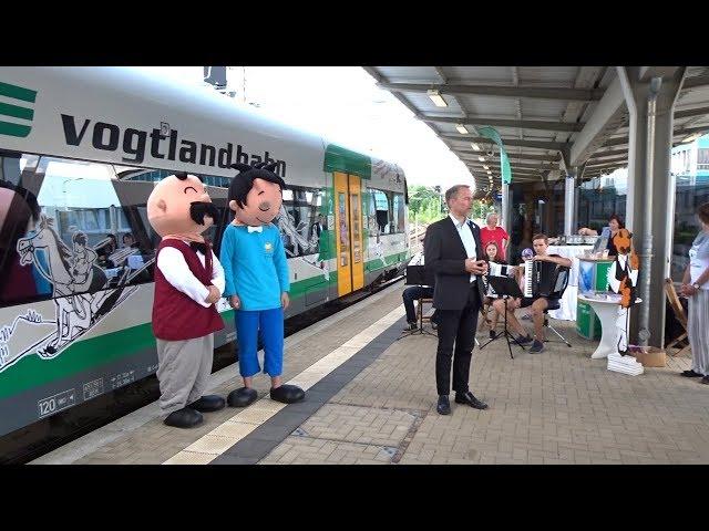 Plauen - Vogtlandbahn mit Vater und Sohn Geschichten verziert