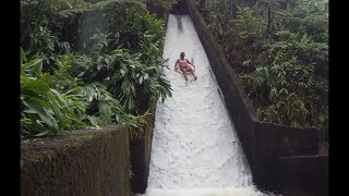 kid finds secret natural water slide..