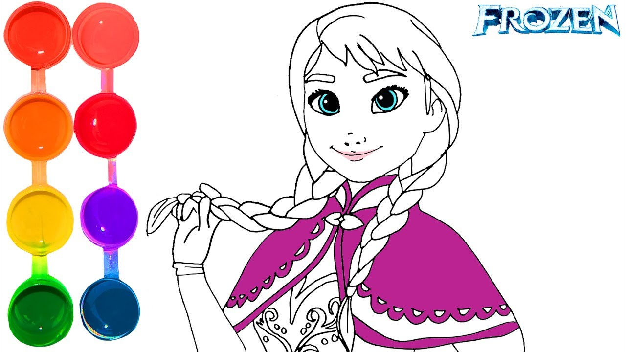 How To Draw Color Frozen Ana Princess Drawing On New Learning Kids Toddlers Learn Colors Hd