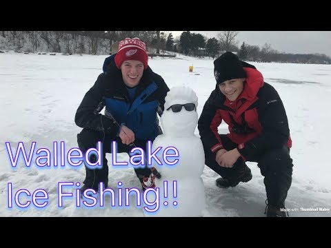 Walled Lake Ice Fishing//Catching My First Fish of 2019!?!?
