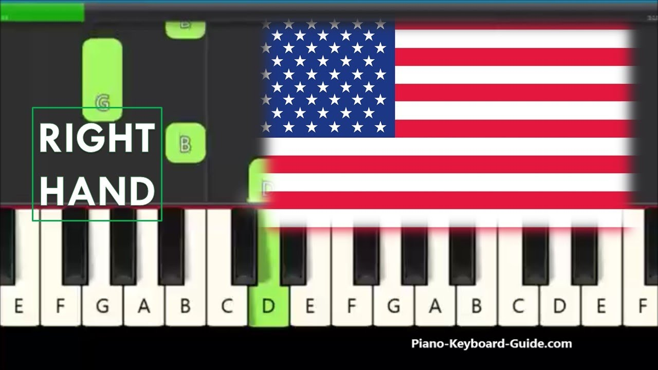 The Star Spangled Banner Right Hand Easy Piano Tutorial For Beginners Youtube