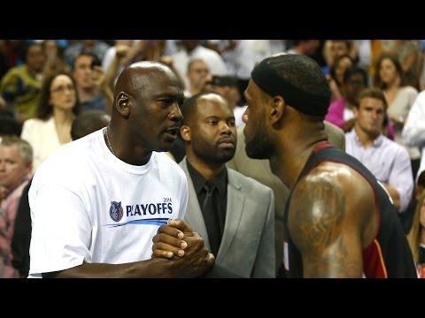 Michael Jordan & LeBron James Hug It Out After Heat Sweep