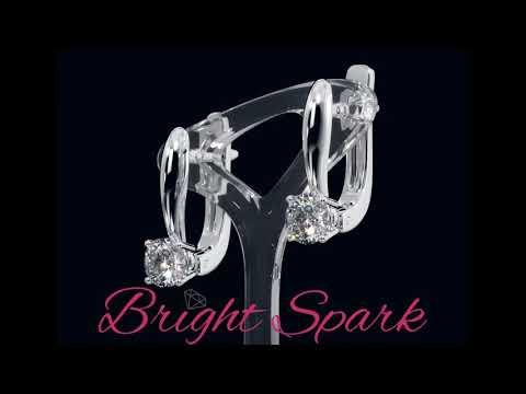 Серьги-классика из белого золота с английским замком Morgan 1 каратот Bright Spark