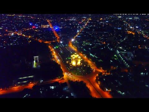 Night times of Mekong riverside at Vientiane Capital LAOS 2018 by Drone Dji Mavic Pro