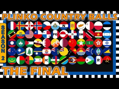 Marble Race Plinko Country Balls World Tournament - The Final Race 6 of 6 Season 2- Algodoo