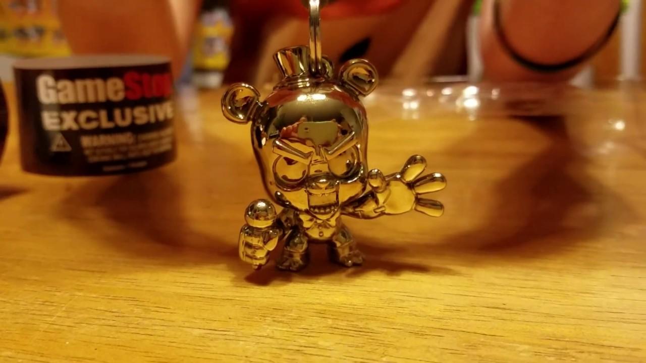 FNAF Gamestop Exclusive Metallic Gold Freddy Backpack Hanger Keychain  Skylander Kid Chaos   YouTube