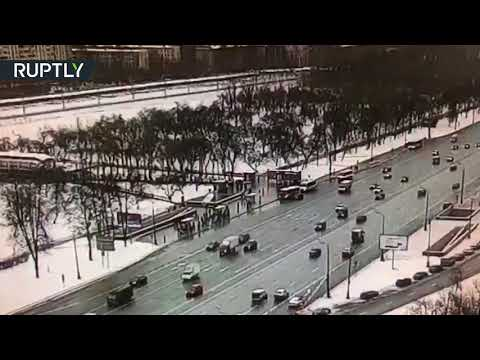 Moment bus rammed into pedestrians in Moscow