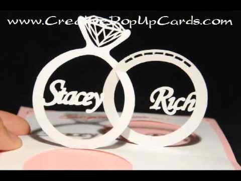 Wedding Pop Up Card Linked Rings YouTube