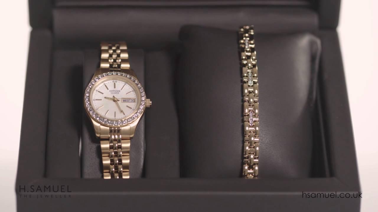 Citizen Las Crystal Watch Bracelet Set Eq0532 55d
