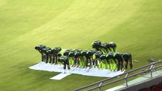Pakistan cricket Team is offering prayer in Mohali Cricket stadium before wold cuo sami final