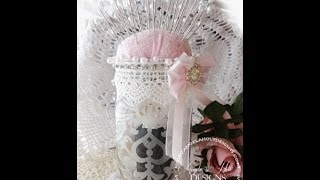 Shabby Chic Etched Glass Mason Jar Pin Cushion