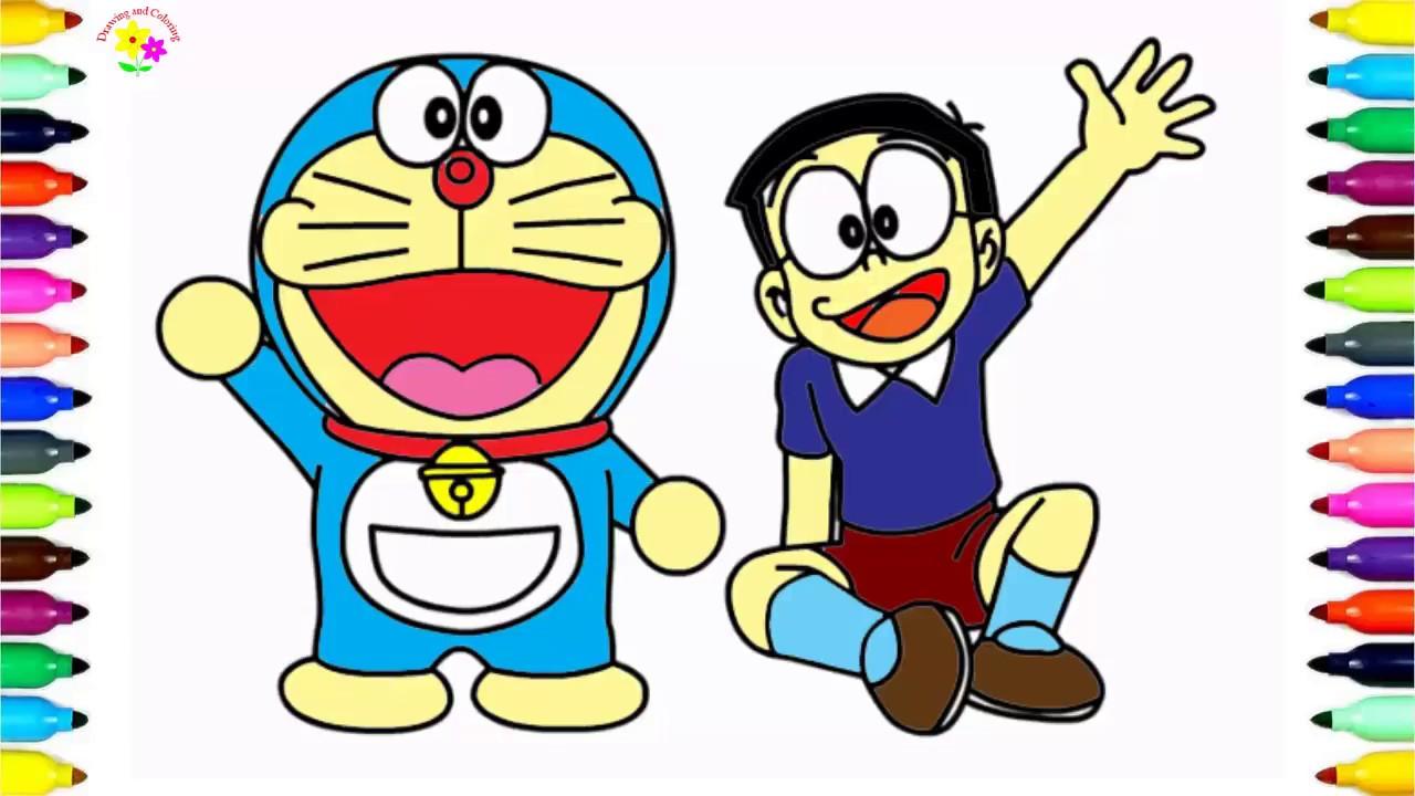 Vẽ Và Tô Màu Vẽ Doremon Và Nobita How To Draw Doraemon And Nobita