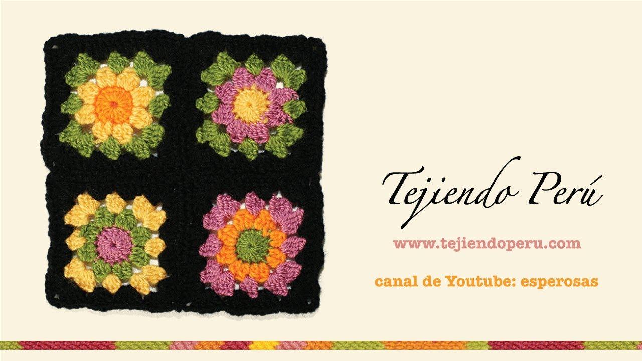 Cómo tejer a crochet un cuadrado o pastilla a colores (granny square ...