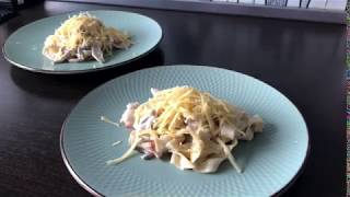 Паста с беконом и грибами! Быстрый, вкусный и простой рецепт для ужина