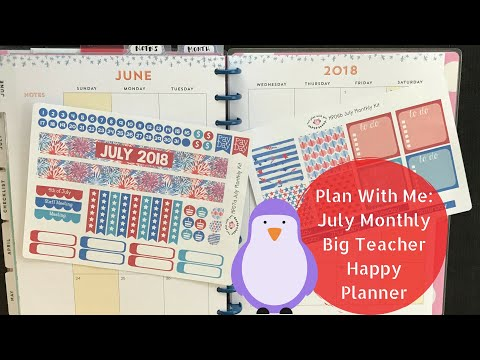 Plan With Me July (2018) Monthly in my Happy Planner Teacher