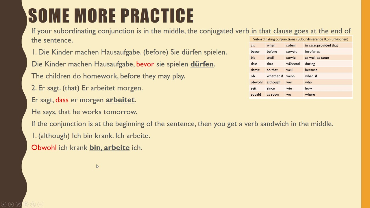 subordinating conjunctions german