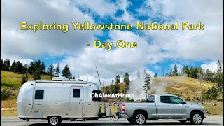 Airstream Camping in the Yellowstone National Park Day 1 - lake, springs, geysers, bisons and more!