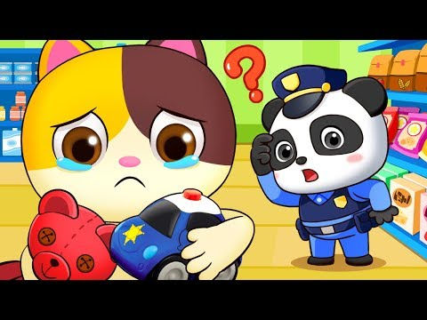 Baby Kitten Got Lost in Supermarket | Police Cartoon | Play Safe Song | Nursery Rhymes | BabyBus