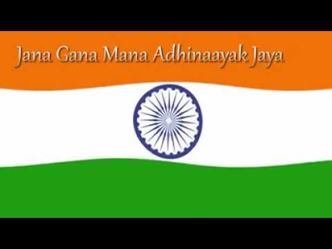 Indian flag with National anthem song written by Rabindranath tagore