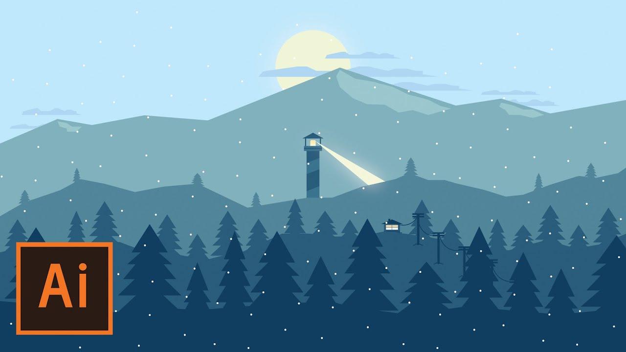 Abstract Fall Wallpaper Illustrator Tutorial Snowy Mountain Landscape Flat