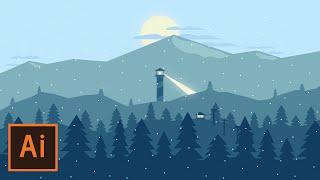 Illustrator Tutorial - Snowy Mountain Landscape (Flat Design)