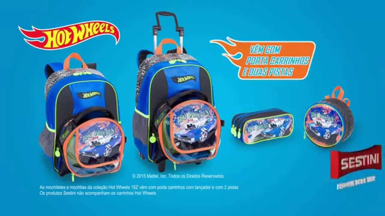 162b855256 Rabisco Papelaria - Mochila Hot Wheels Sestini 2016 - YouTube