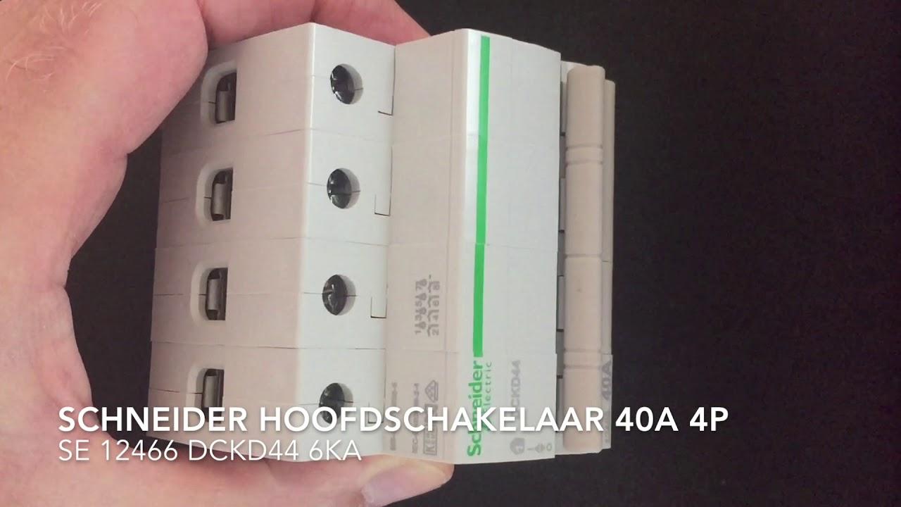 Genoeg Schneider Hoofdschakelaar 40A 4-polig SE12466 DCKD44 - YouTube UM68