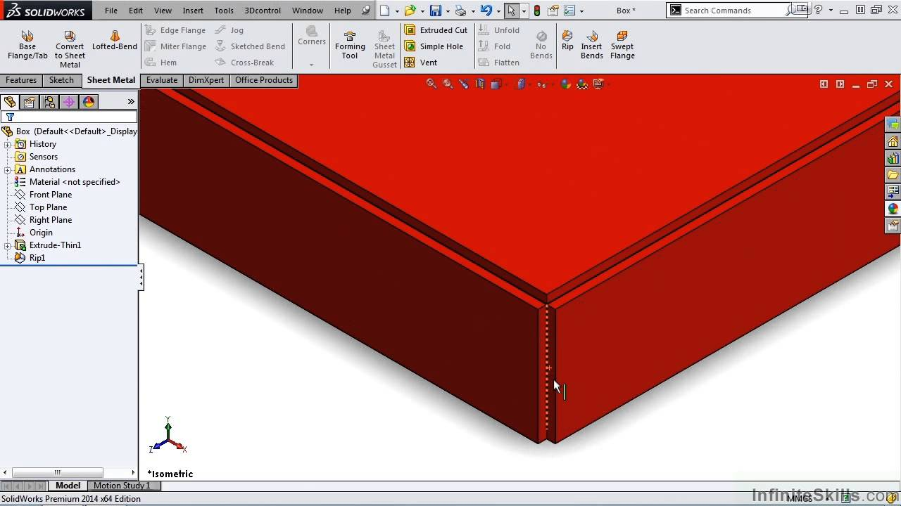 Solidworks Sheet Metal Tutorial Using The Rip Feature