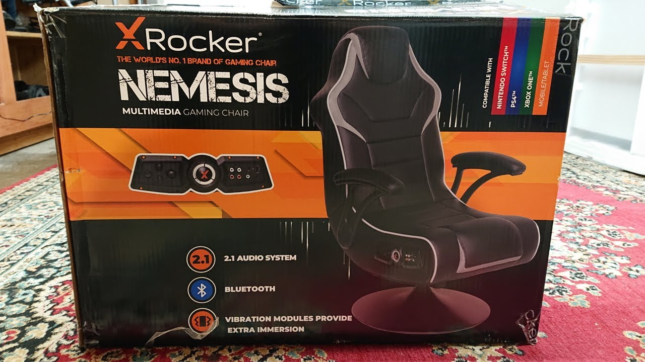 XRocker Nemesis Gaming Chair with Bluetooth and Vibrations hooked up to a Samsung TV!