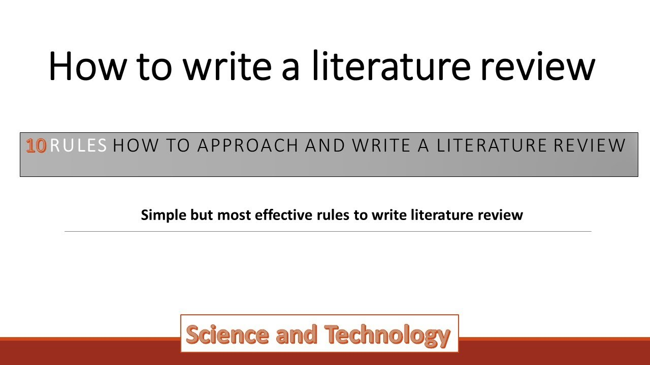 How to Write a Literature Review  26 simple rules