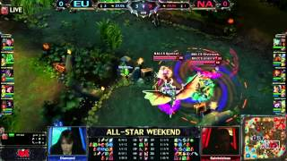 NA vs EU LCS All-Star Tournament Game 1 Highlights Dyrus Scarra Saint Doublelift Xpecial vs Europe